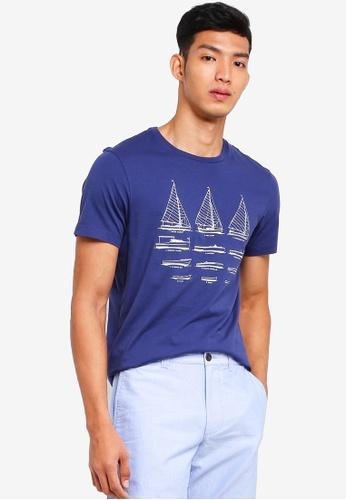 J.Crew 海軍藍色 短袖印花T恤 4B595AA20C3C10GS_1