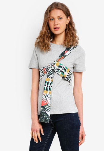 River Island grey Floral Bow Tie Tee 27082AAC890A9CGS_1