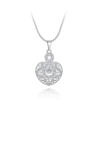 Glamorousky white Elegant Hollow Heart Pendant with Austrian Element Crystal and Necklace 9BC58ACEA6B143GS_1