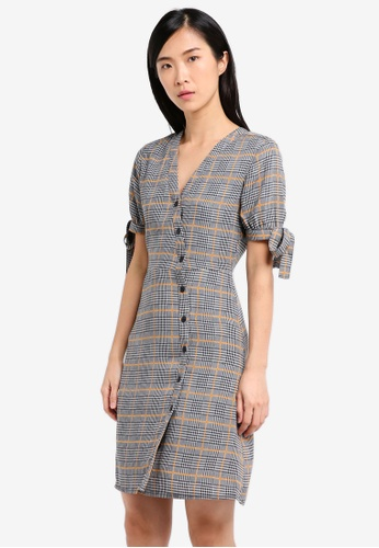 ZALORA grey and multi and navy Buttoned Wrap Dress 7FA35AAC29F5D8GS_1