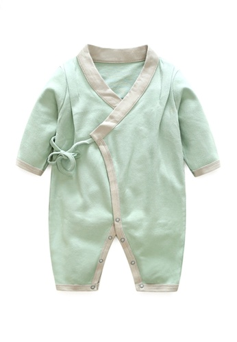Kiddies Crew grey and white and green and multi Yukata Style Open Robe Boys Girls Baby Kids Long Sleeve Romper Onesie Overalls Bodysuit With String/ Ribbon (Mint) 5DC0DKA1D728D4GS_1