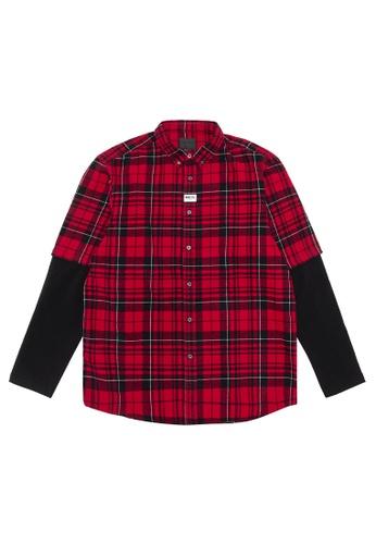 MUSIUM DIV red Layered shirt 8B3D0AA178A451GS_1