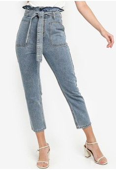 a7cfe59cec4bf8 ZALORA blue Paperbag Straight Jeans 2B2A4AACC6CC0CGS_1