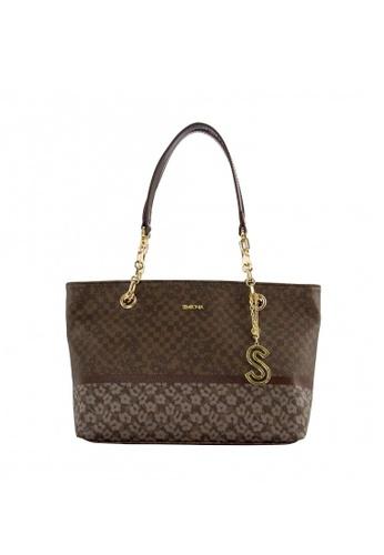 SEMBONIA brown Coated Canvas Trim Leather Monogram Crossbody Bag (Dark Brown) BFAB8ACCB8CEA4GS_1