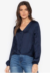MARKS & SPENCER navy Satin Popover Top 98A63AA6EBEF85GS_1