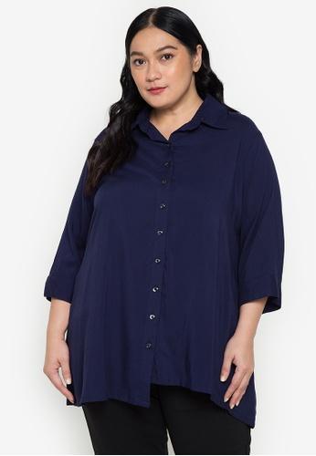 Maxine navy Plus Size 3/4 Sleeves Challis Tunic Shirt AAD12AA7EE6F84GS_1
