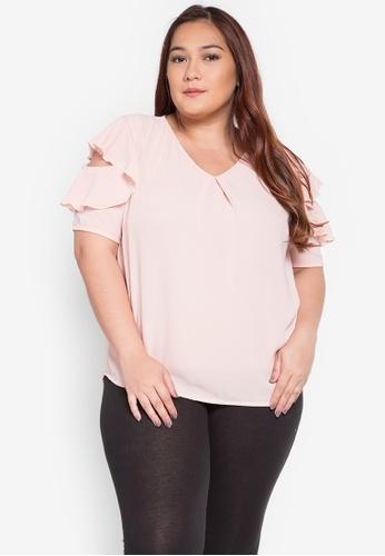 Divina pink Plus Size Flutter Blouse DI567AA0KL7ZPH_1