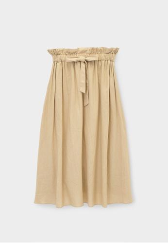 Pomelo beige Purpose Elastic Waist A Line Skirt - Beige 807C9AA92FA5D1GS_1