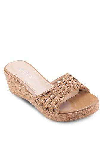閃飾寬帶楔形涼鞋, 女鞋,esprit outlet 家樂福 鞋