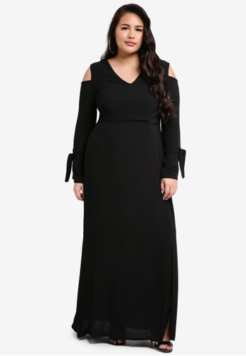 LOST INK PLUS black Plus Size Maxi Dress With Cold Shoulder AB252AA28807FAGS_1
