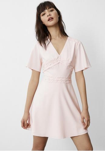 Pomelo pink Eyelet Hem Flare Dress - Pink 3D1FBAA6B9F74DGS_1
