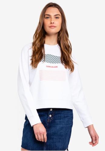 Calvin Klein white Long Sleeve Fa Logo Reglan Po Sweatshirt - Calvin Klein Jeans C83F1AA14F4478GS_1