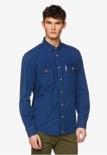 United Colors of Benetton 藍色 單寧造型襯衫 155D9AA5B81CDEGS_1