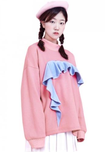 A X A pink Frill Sweat Shirt AX230AA46CENSG_1