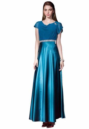 時尚羅馬esprit 童裝領雪紡紗拼接緞面長禮服, 服飾, 派對洋裝