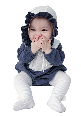 Kiddies Crew white and blue and multi and navy 2 Piece Little Sunshine Ruffles Collar Boys Girls Baby Kids Long Sleeve Romper Onesie Overalls Bodysuit With Headwear (Blue) A5068KAC9BF944GS_1