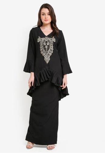 Zuco Fashion black Pleated Lace Mini Kurung ZU882AA0RIKFMY_1