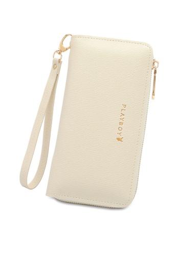 PLAYBOY BUNNY white Women's Long Zipper Purse 383A4AC48F3E22GS_1