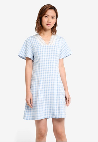dd68f0f71644 ZALORA blue and multi Placement Lace Fit   Flare Dress 558EEAABF36ED7GS 1