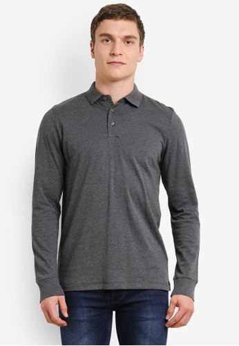 French Connection black Summer Brunswick Plain Long Sleeve Polo FR878AA0SE5DMY_1