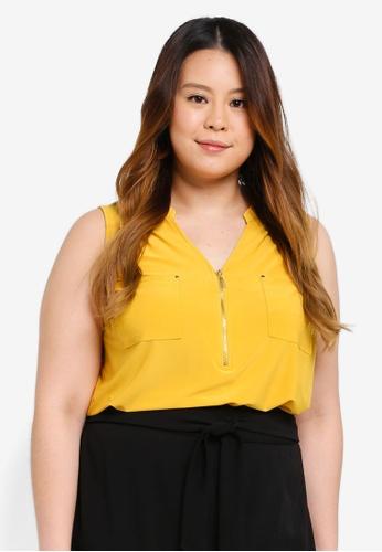 3daa1841455 Dorothy Perkins yellow Plus Size Ochre Sleeveless Zip Shirt  A347FAA540D4CFGS 1
