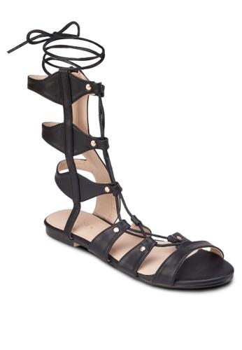 繫帶平底zalora 心得羅馬涼鞋, 女鞋, 涼鞋
