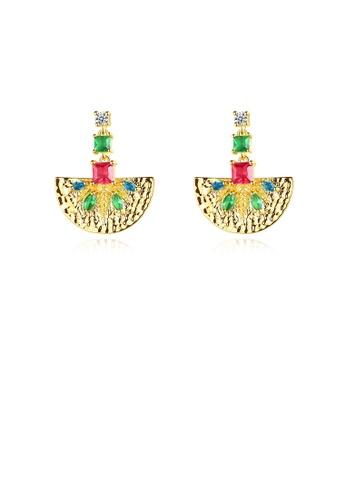 Glamorousky green Fashion and Elegant Plated Gold Geometric Fan-shaped Colorful Cubic Zirconia Earrings E8ECCACF68E068GS_1