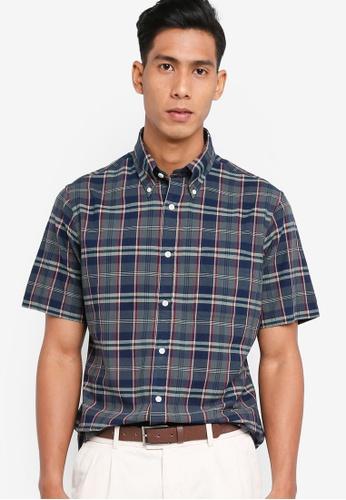 Brooks Brothers green Regent Fit Madras Short Sleeve Shirt 85E3BAA28F69C0GS_1