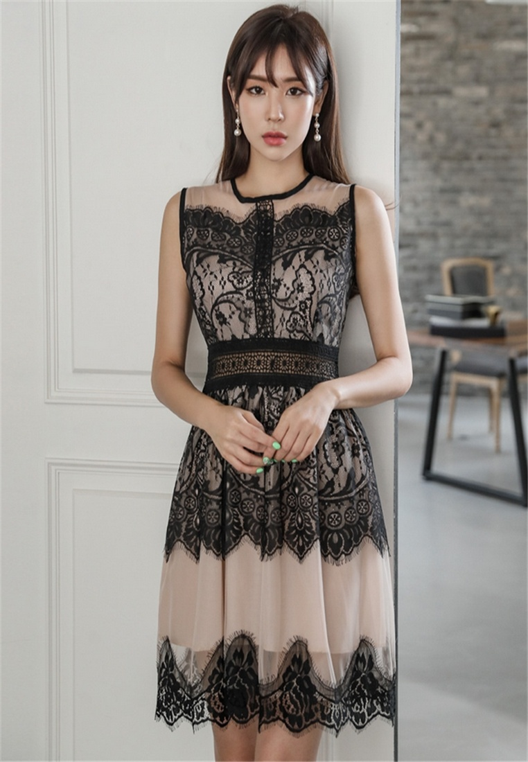 New Color South Korea's Dress BLACK Fashion Korea Crystal Lace Spell 5Iw6xPq