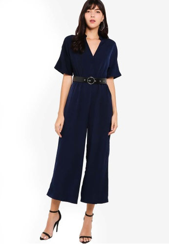 ZALORA navy High Neck Wide Leg Jumpsuit 59039AA1FA0C33GS_1