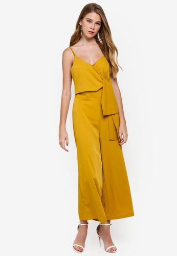 MISSGUIDED yellow Tie Side Culotte Jumpsuit E7979AA9BF5A31GS_1