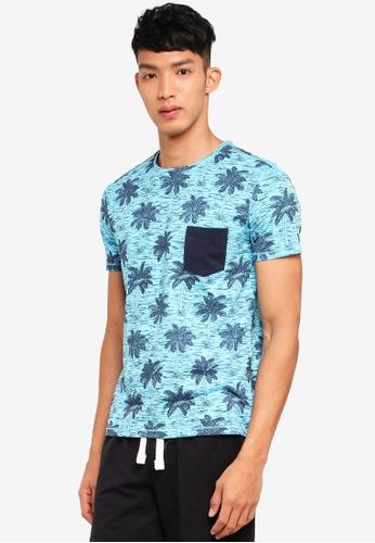 OVS 藍色 短袖印花T恤 0AEB2AAC3DC933GS_1