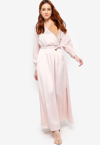 Zalia beige Velvet Piece Wrap Dress 6DFE0AAADE7CBDGS_1