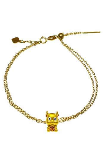 LITZ gold [SPECIAL] LITZ 999 (24K) Gold Ox Charm With 9K Yellow Gold Bracelet 牛手链 EPC1014-9KB A326EAC895E0E1GS_1