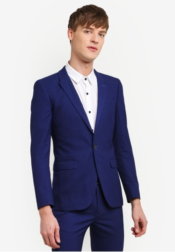 Topman blue Deep Blue Textured Ultra Skinny Fit Suit Jacket TO413AA0RUX3MY_1