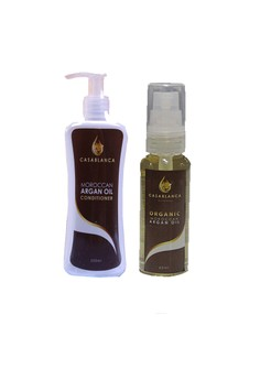 Moroccan Argan Oil Conditioner 200ml with Pure Organic Moroccan Argan Oil 60ml Bundle