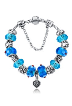 Chain Hearts Floral Blue Murano Beads Bracelet by ZUMQA