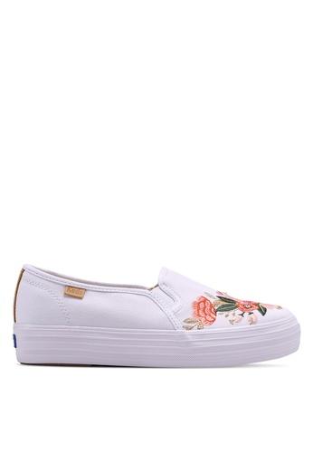 Keds 白色 花卉刺繡懶人鞋 86943SH09D35E1GS_1