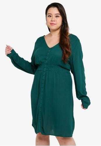 Junarose green Plus Size Fulo Long Sleeves Above Knee Dress 8F0ADAA01C6245GS_1