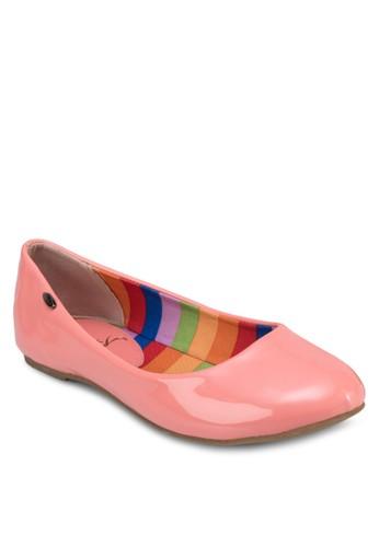 經典漆面esprit tote bag圓頭平底鞋, 女鞋, 芭蕾平底鞋
