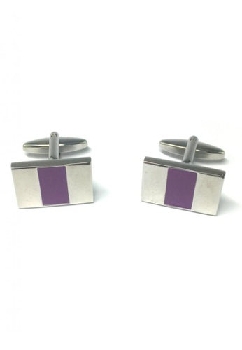 Splice Cufflinks purple and silver Purple Center Rectangular Cufflinks SP744AC26FSRSG_1