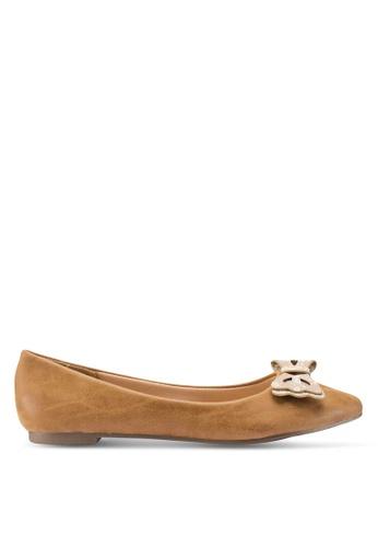 Berrybenka 褐色 蝴蝶結平底鞋 7BF77SH9D69925GS_1