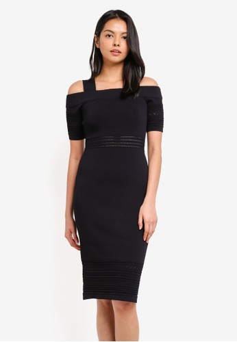 WAREHOUSE black Pointelle Detail Bardot Dress ABD80AAA424E5CGS_1