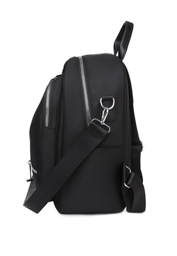 Lara black Women's Water Repellent Wear-resistant Light-weight Nylon Zipper Backpack - Black 4581FAC3736D03GS_1