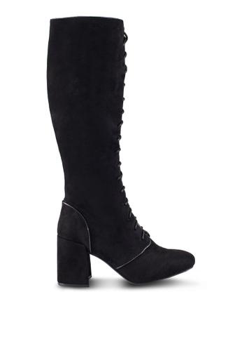 ZALORA black Laced Up Mid Heel Boots FDBFAZZ910AE7CGS_1