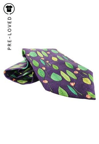 dunhill purple Pre-Loved dunhill Purple Leaf Print Silk Tie D049DAC9373CE3GS_1