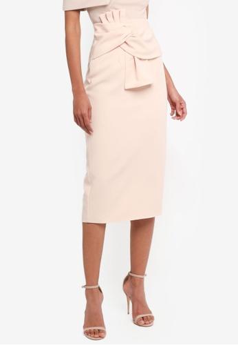 Lavish Alice beige Twisted Bow Midi Skirt LA457AA0SSRKMY_1