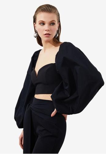 Trendyol black Sweetheart Poplin Sleeve Crop Top 28EBBAAE5023BDGS_1