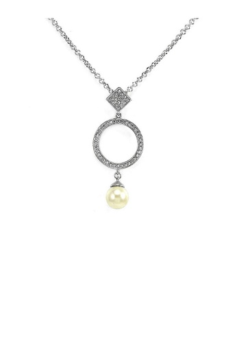 Glamorousky white Elegant Pendant with Silver Austrian Element Crystals and White Fashion Pearl and Necklace 007B0AC49DA9A6GS_1