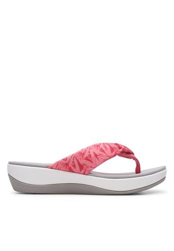 Clarks CLARKS Women's Casual Arla Glison Berry Pink Floral Textile Sandals 35C0FSH2679C3CGS_1
